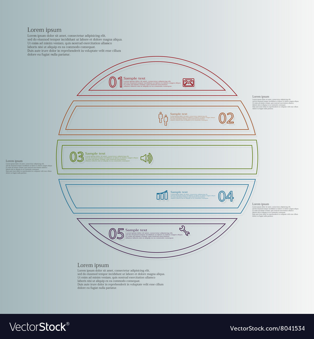 Infographic with circle divided to five color vector