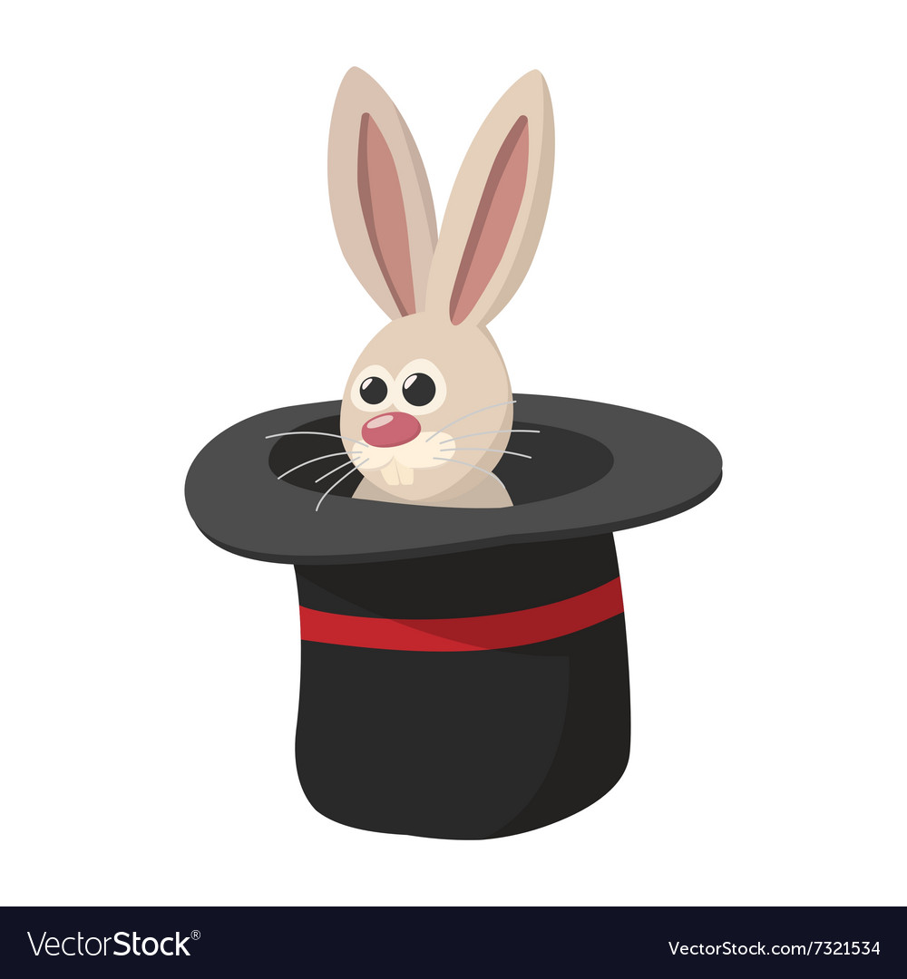 Rabbit in magic hat cartoon icon vector