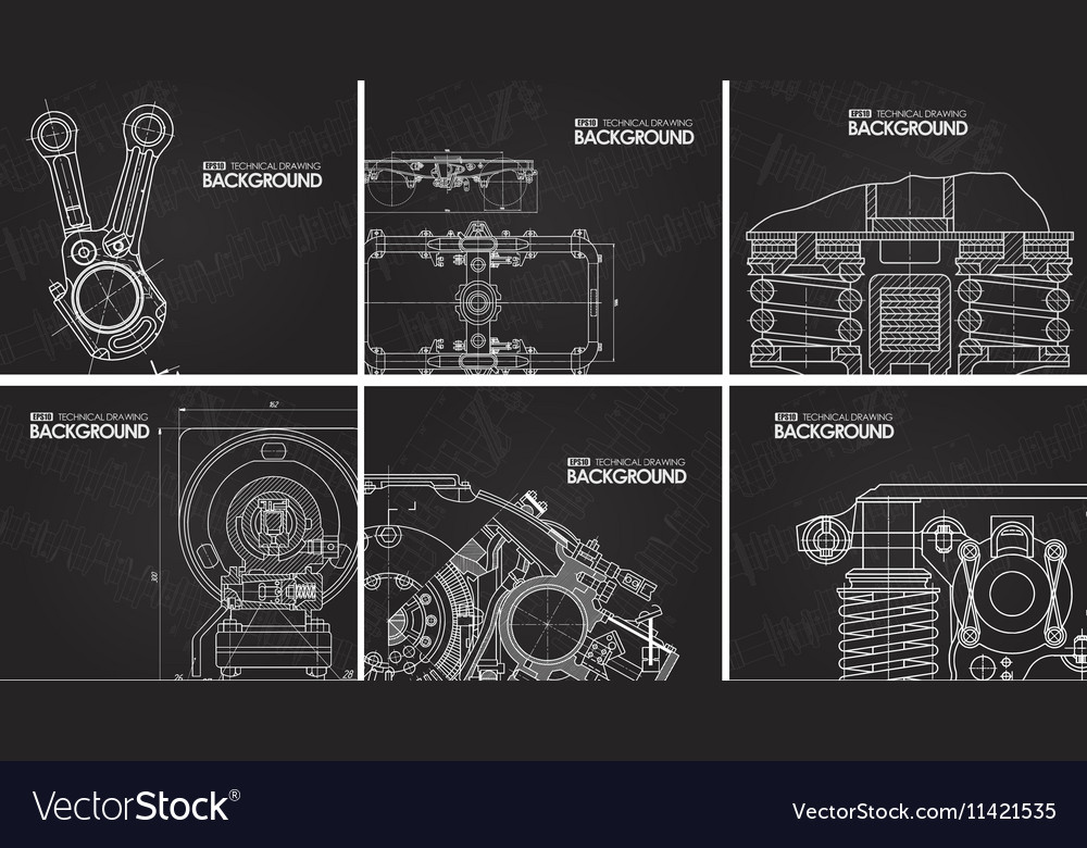 Set of black background with technical drawings vector