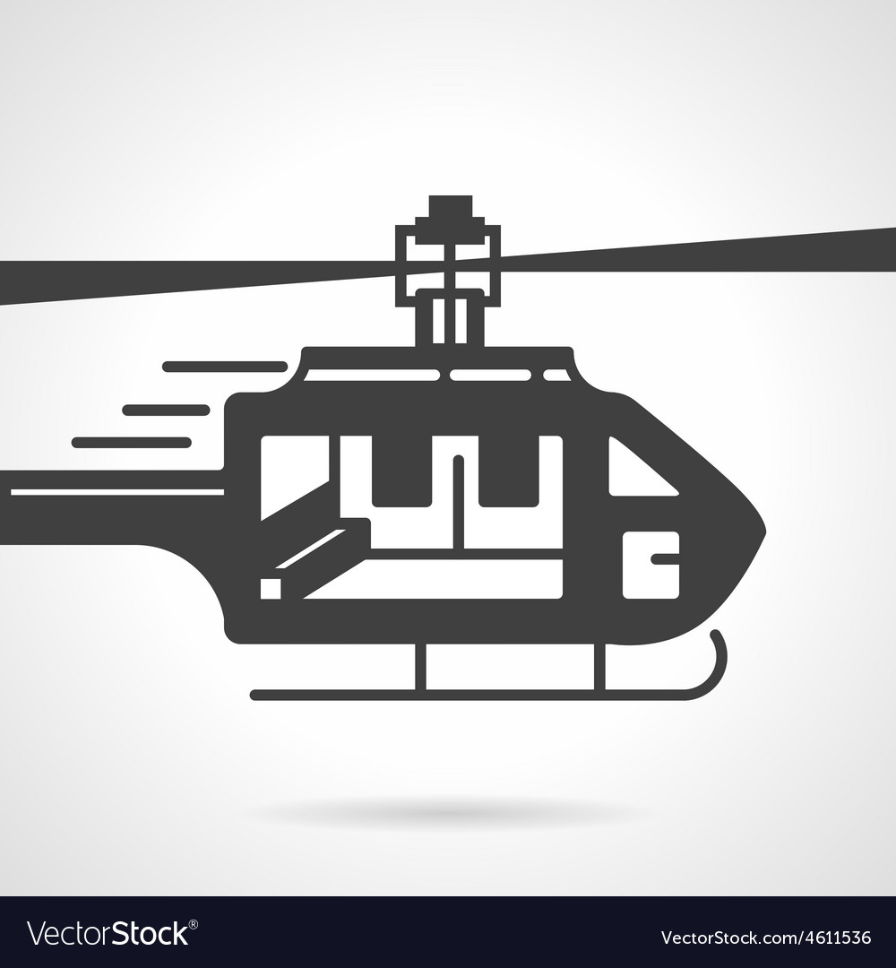 Helicopter black icon vector