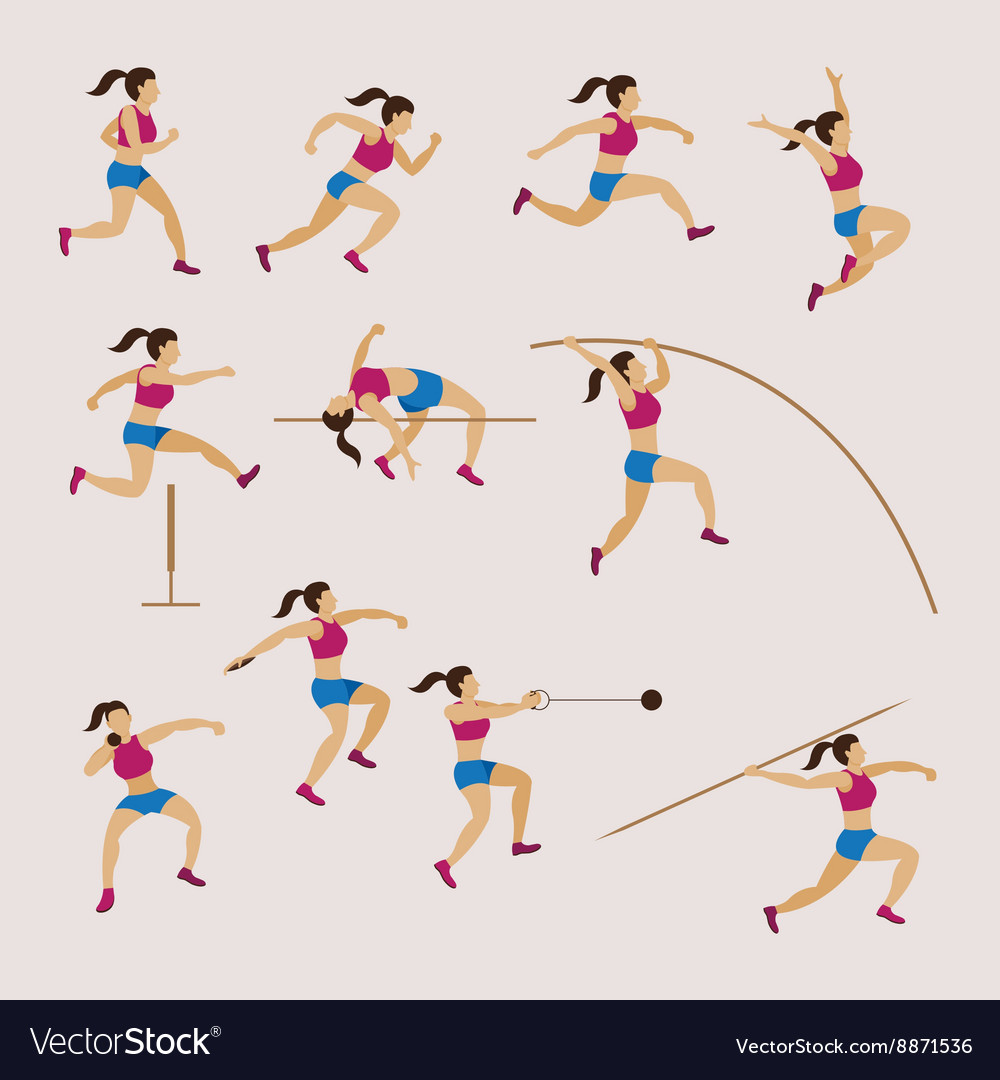 Sports athletes track and field women set vector