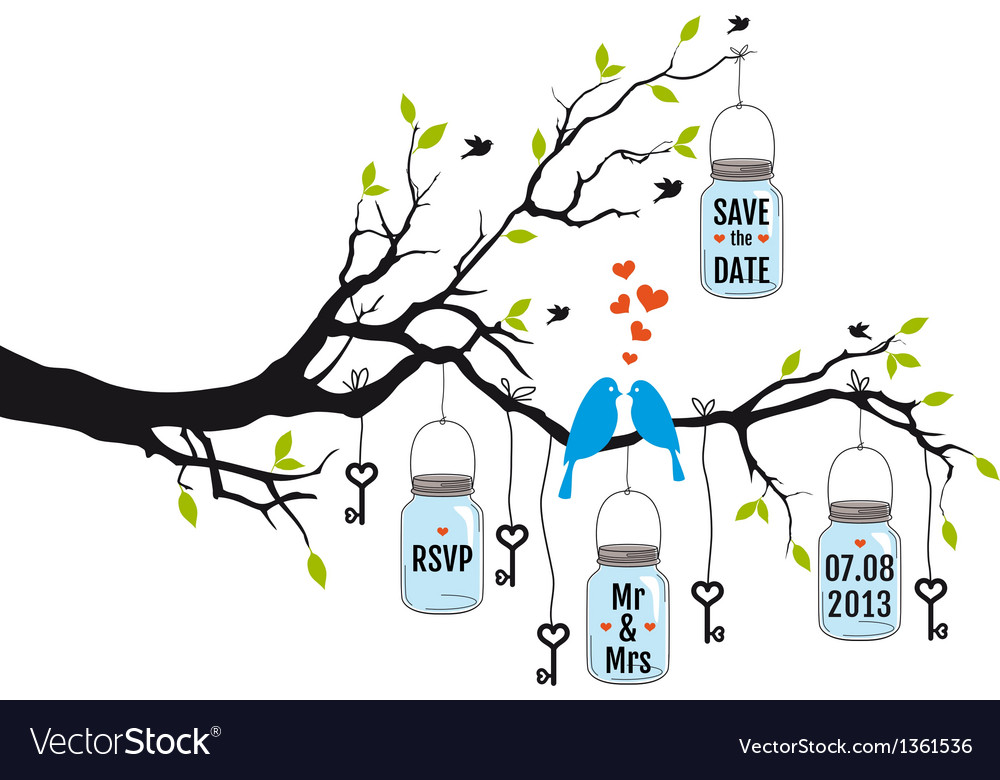Wedding invitation birds on tree with jars vector