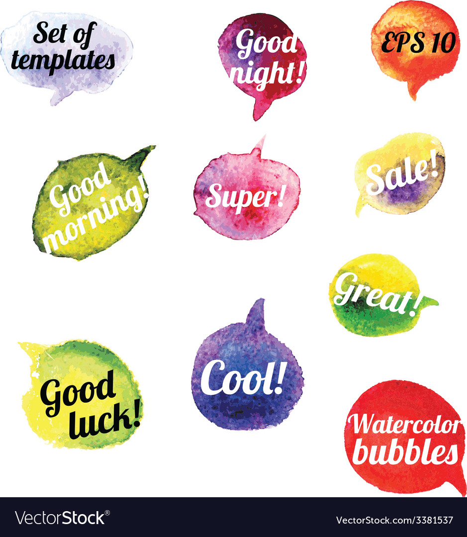 Watercolor speach bubbles set of 10 pieces vector
