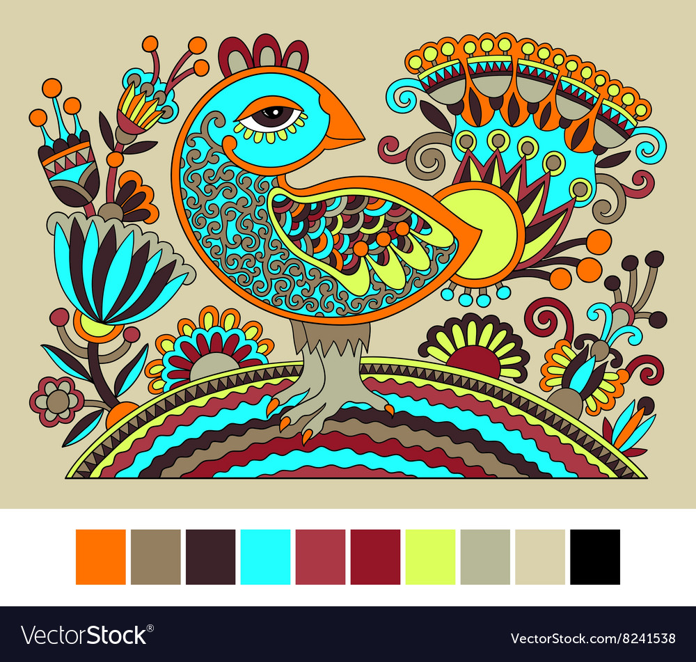 Ukrainian hand drawn ethnic decorative pattern vector