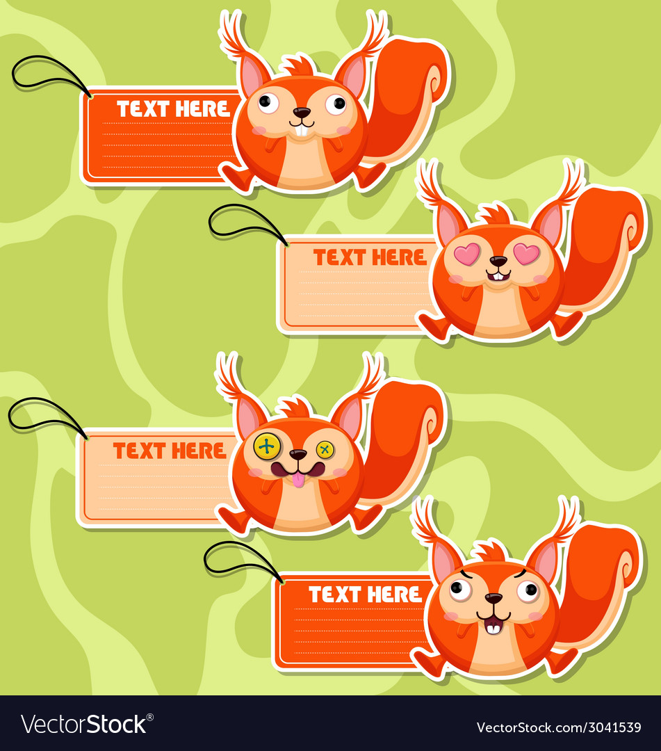 Four cute cartoon squirrels stickers vector