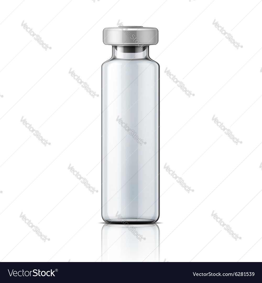 Glass medical ampoule with aluminium cap vector
