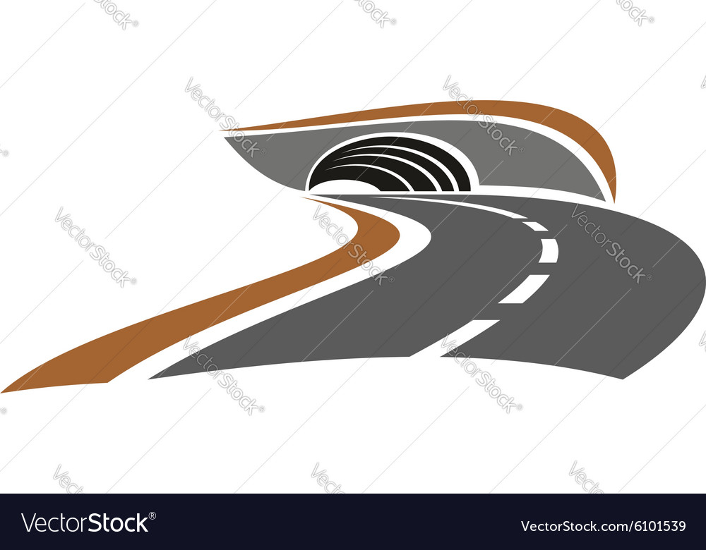Mountain road tunnel abstract icon vector