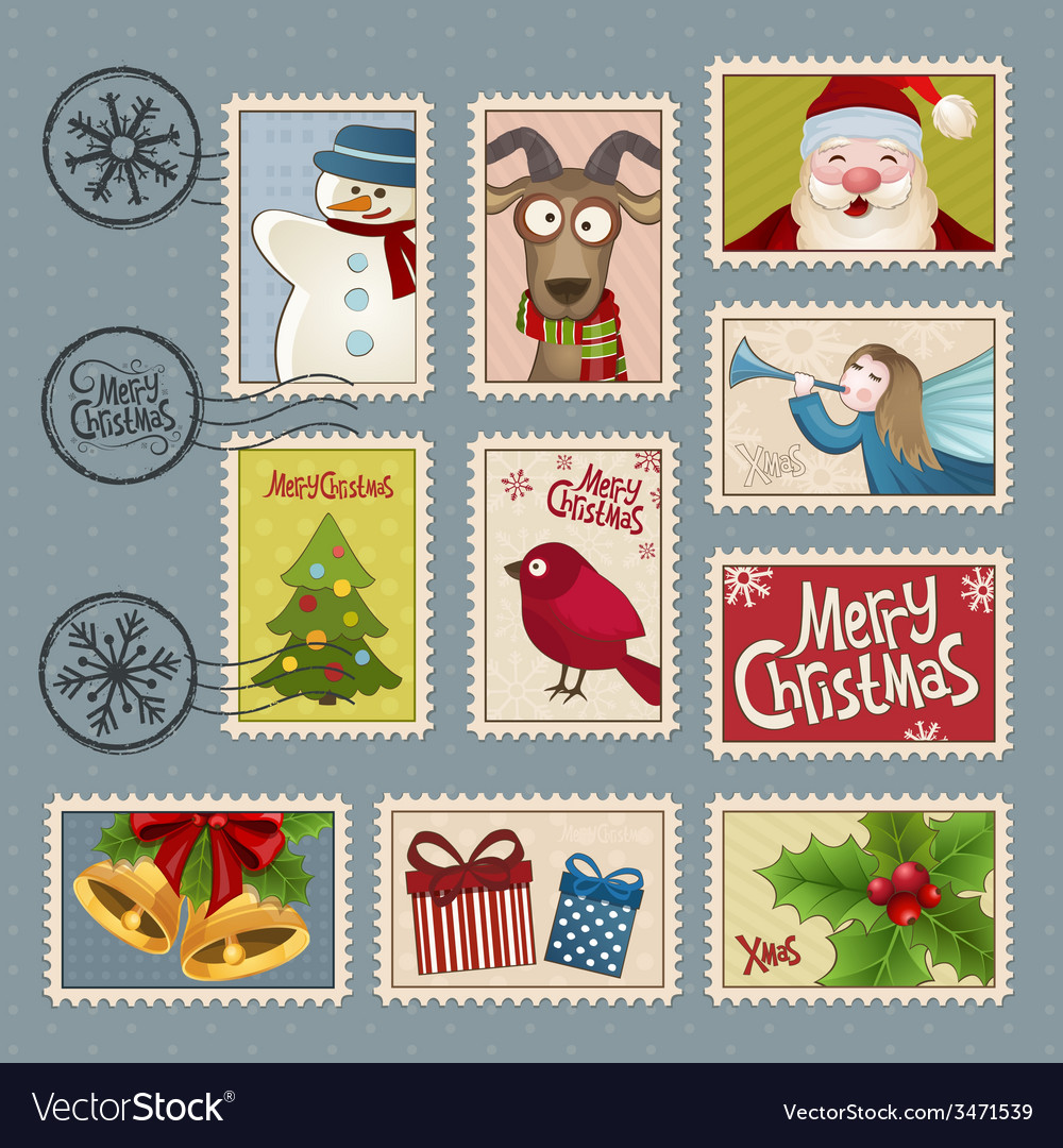 Postage stamps for christmas vector