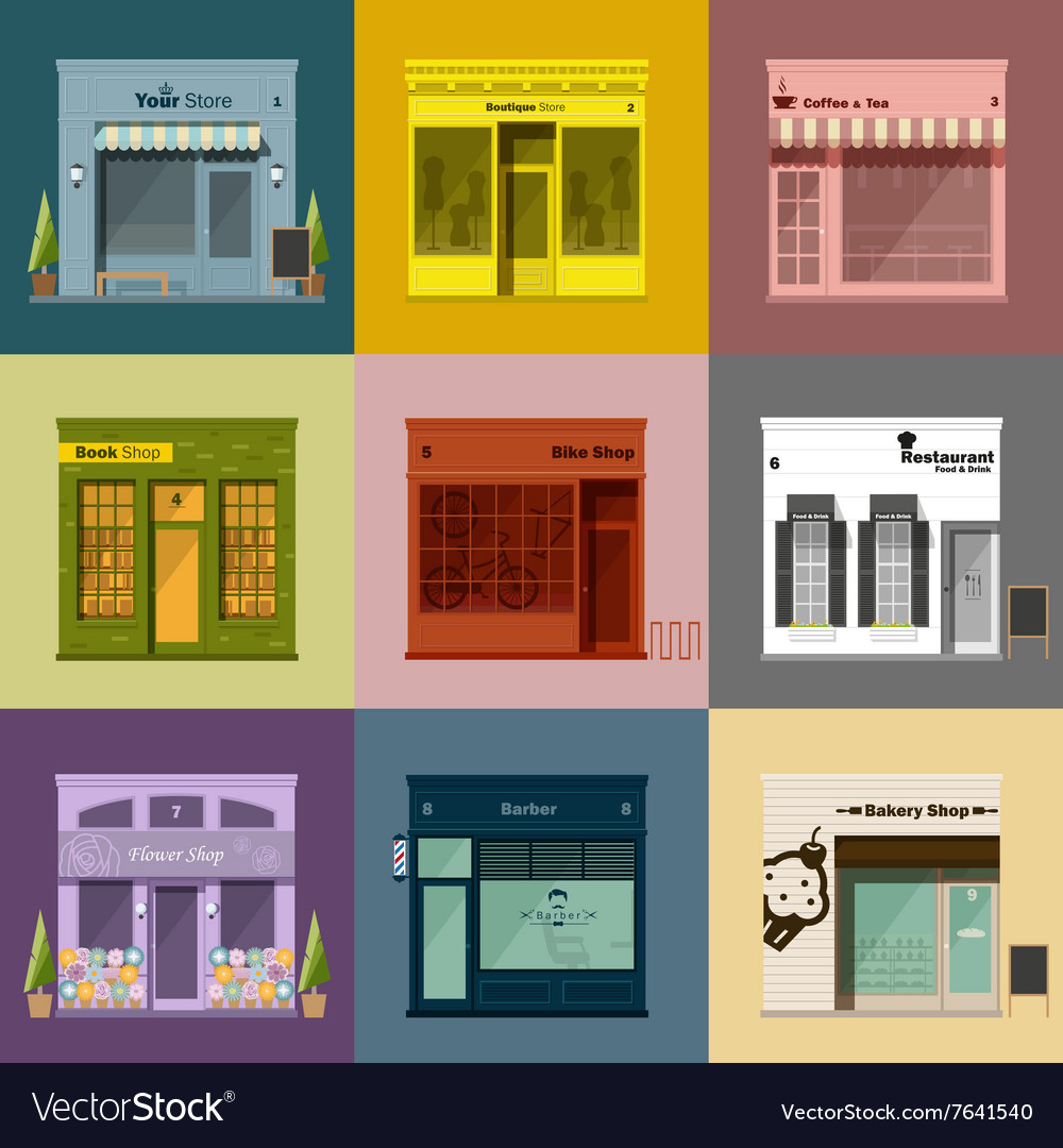 Different shops and stores icons set vector