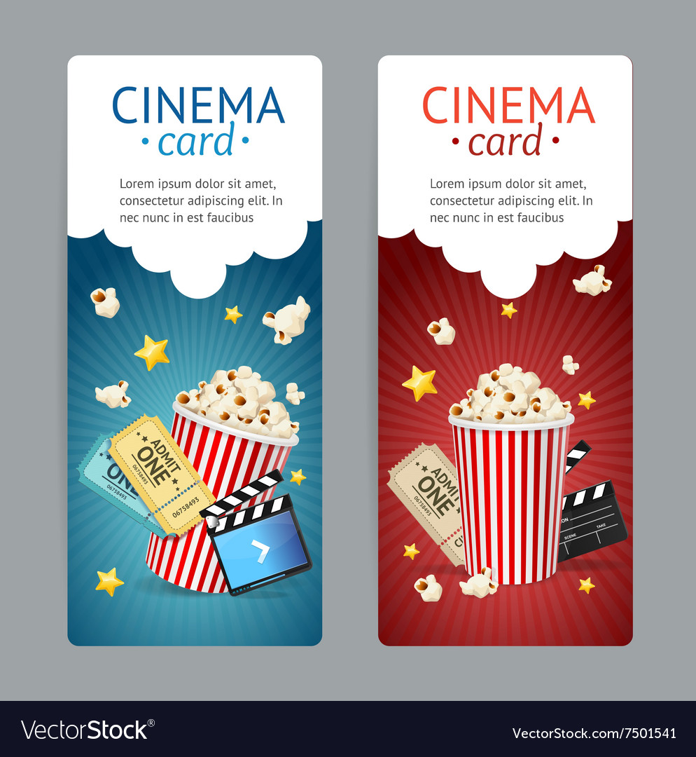 Cinema movie card set vector