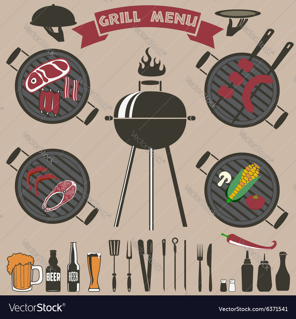Grill menu collection vector