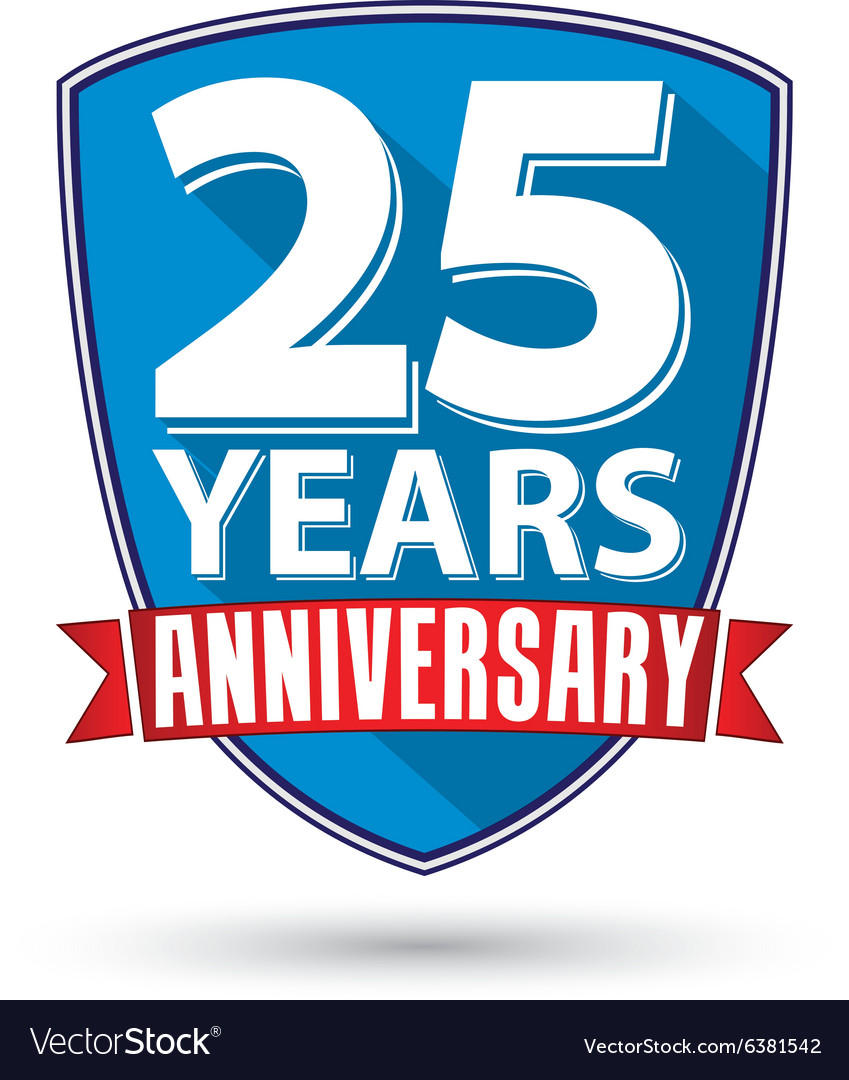 Flat design 25 years anniversary label with red vector