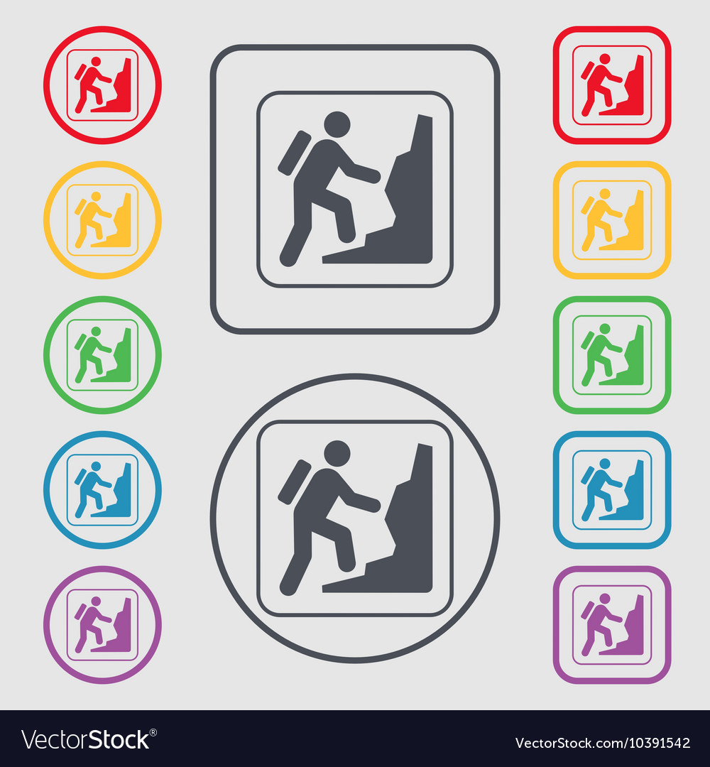 Rock climbing icon sign symbol on the round and vector