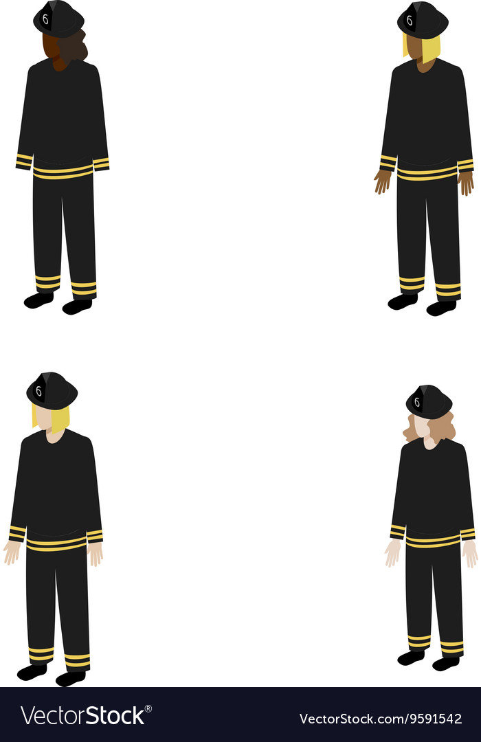 Set of isometric firefighters vector