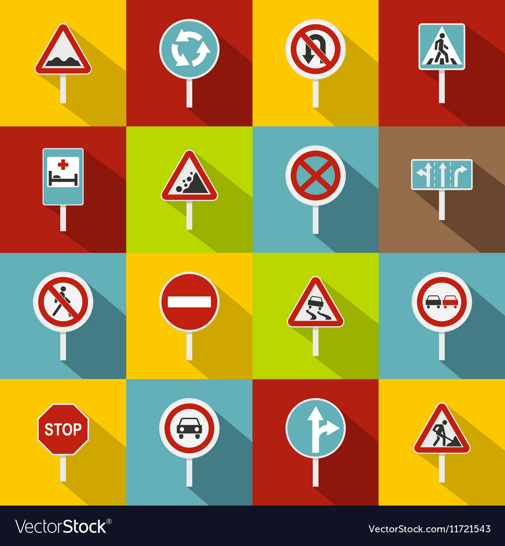 Different road signs icons set flat style vector