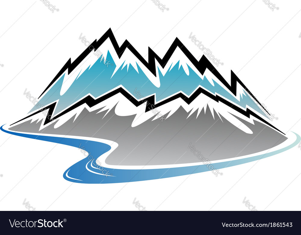 Mountains peaks and river vector