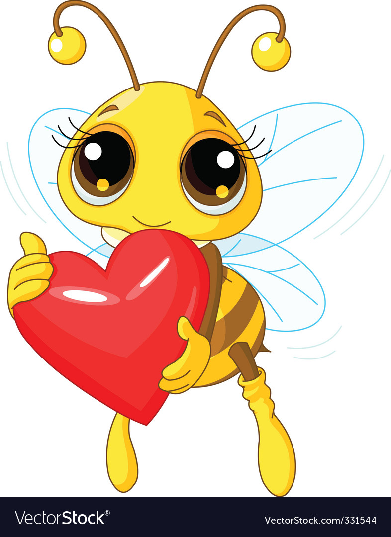 Cute bee holding love heart vector