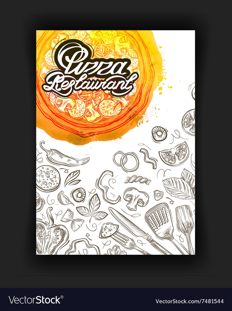 Pizza restaurant sketch menu food cafeteria vector
