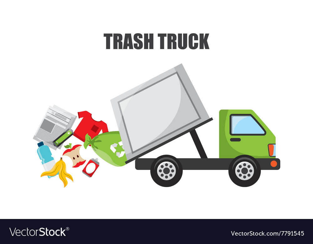 Trash truck design vector