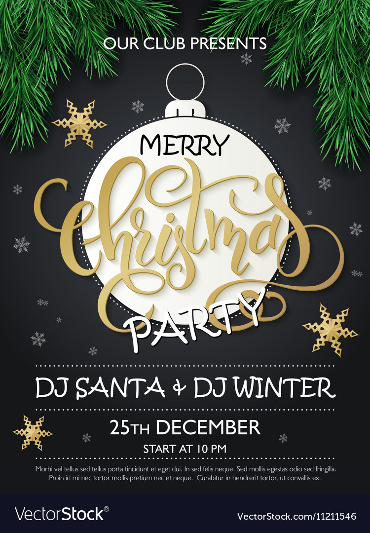 Christmas party poster with firtree vector