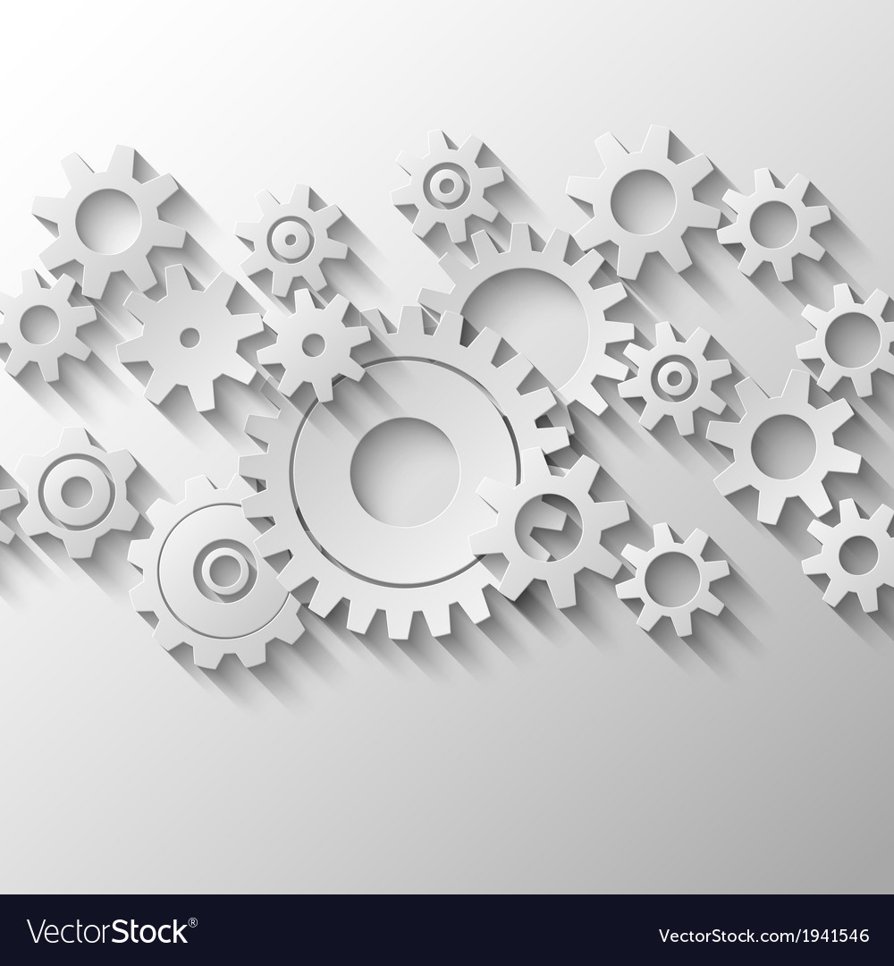 Integrated cogs and gears emblem vector