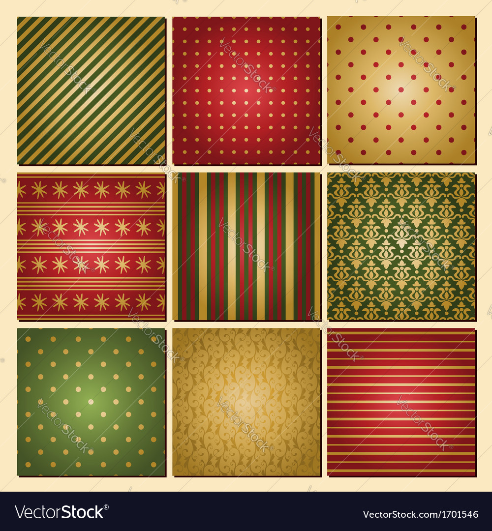 Vintage style christmas backgrounds collection vector