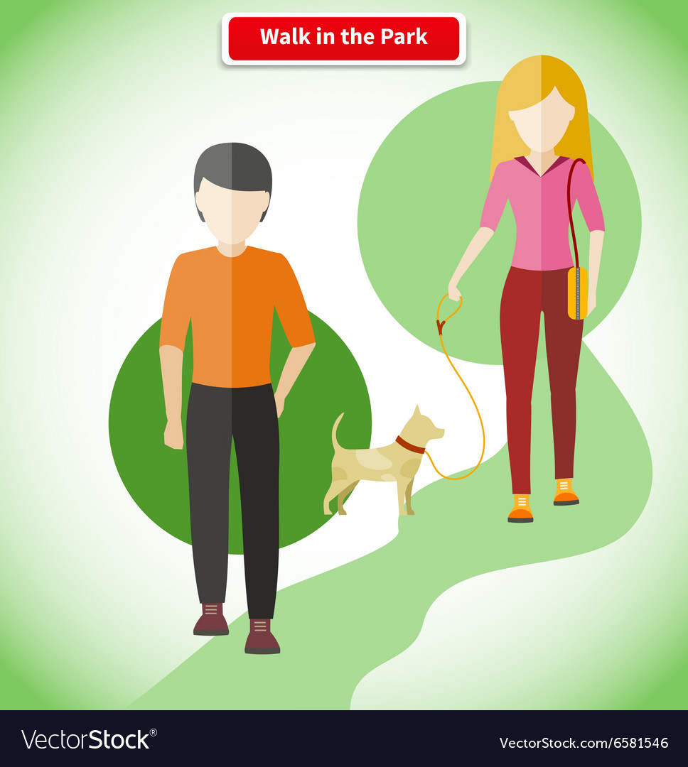 Walk in the park with dog concept vector