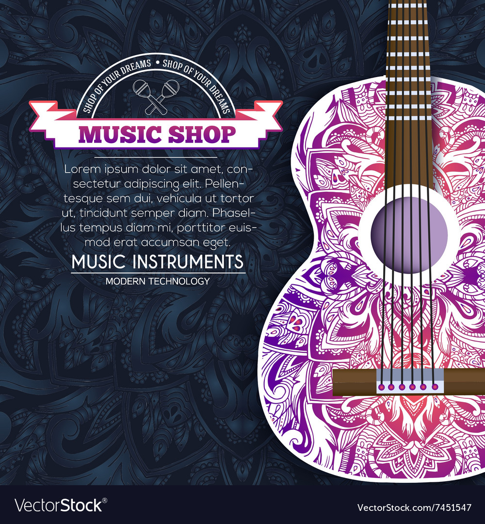 Abstract retro music guitar on blue floral vector