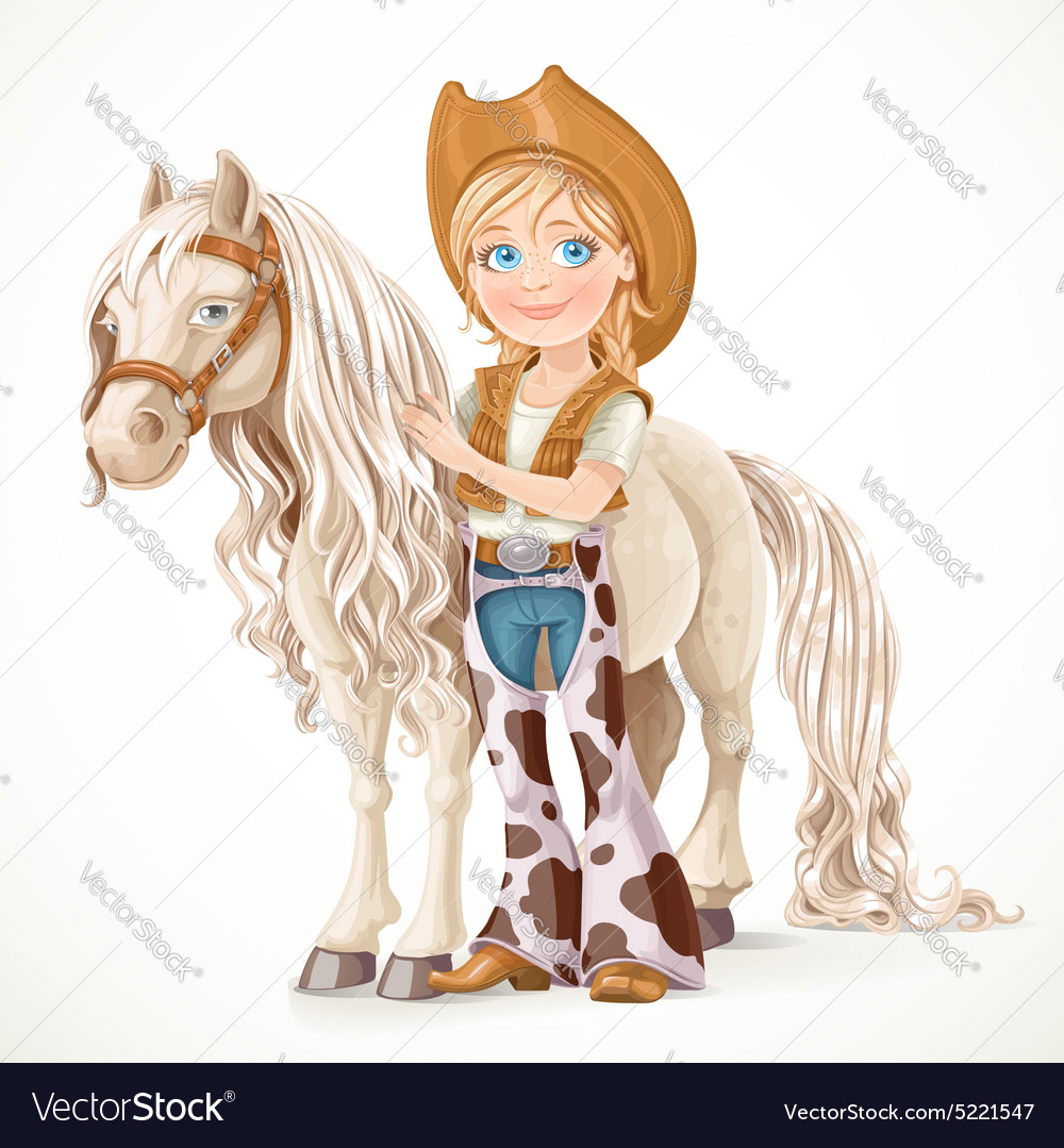 Cute girl dressed as a cowboy holds the reins vector