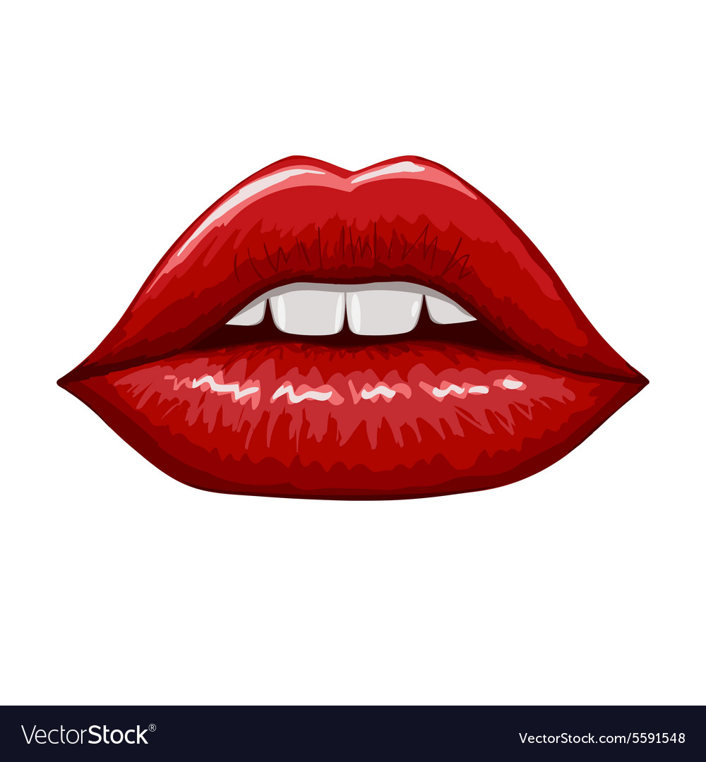 Red lips on white background hand drawn vector