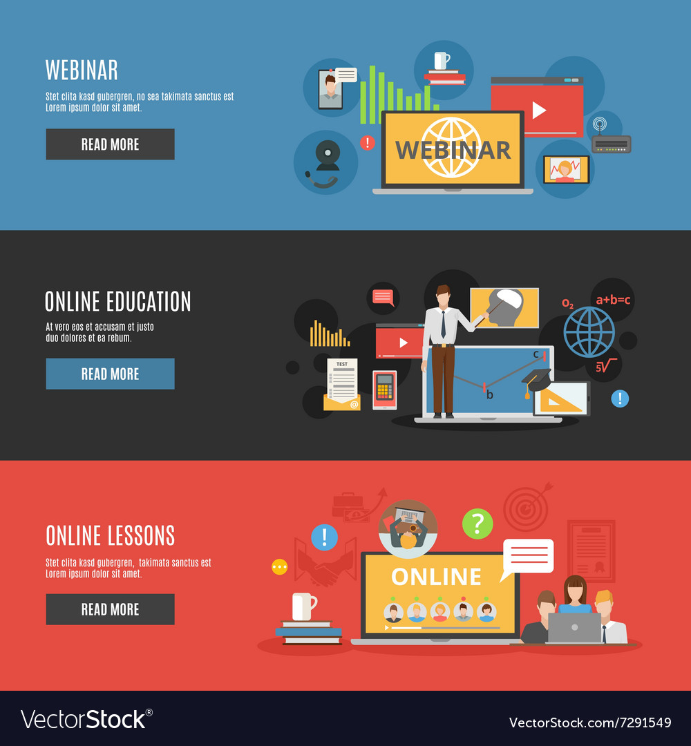 Online education flat horizontal banners vector