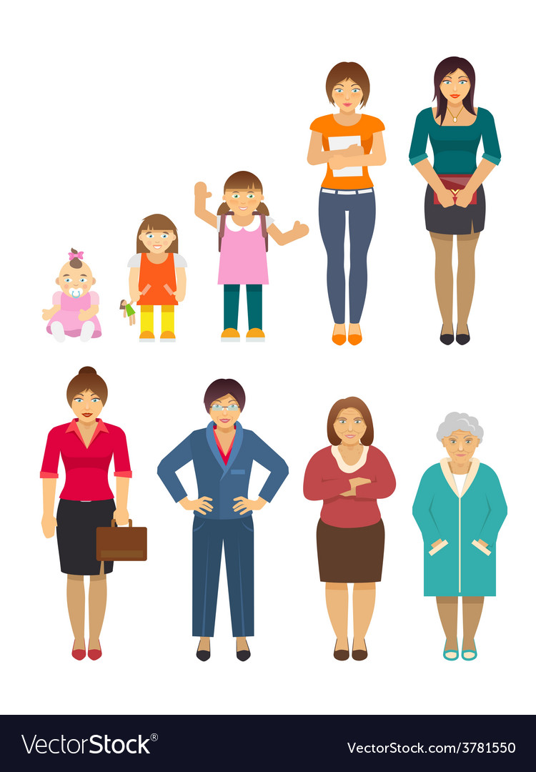 Generation women flat vector