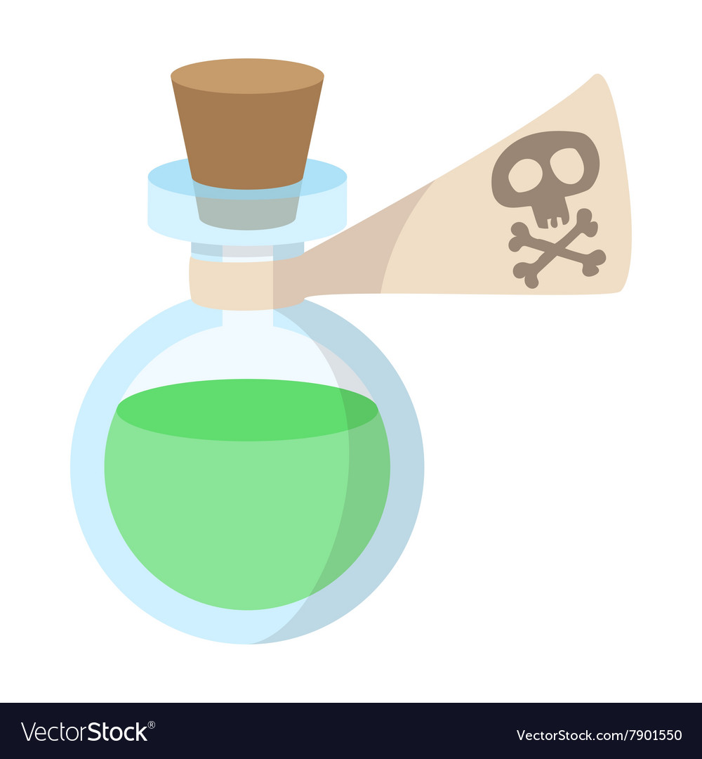 Glass bottle with poison icon cartoon style vector
