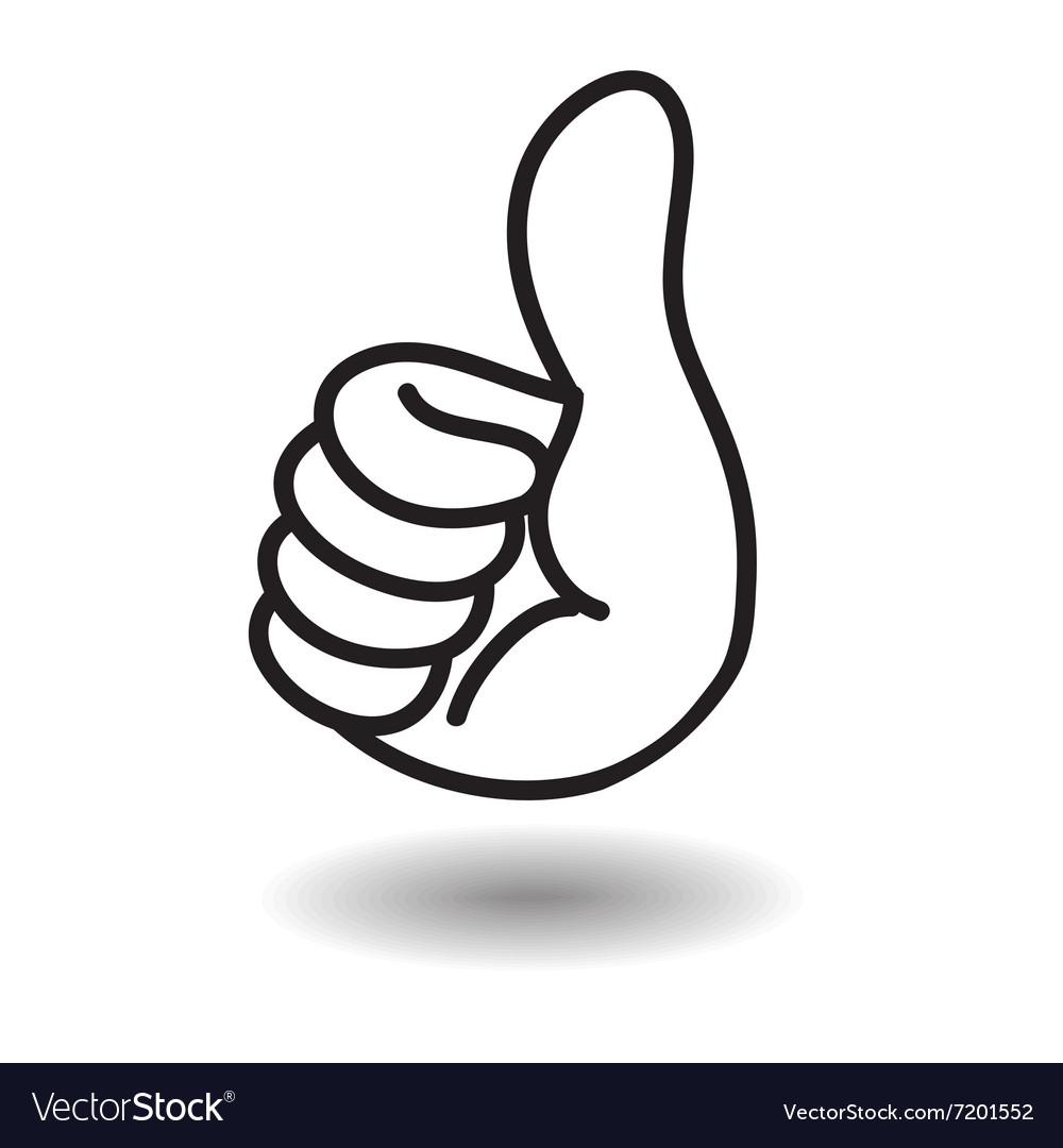 Big thumb up floating on white with shadow vector