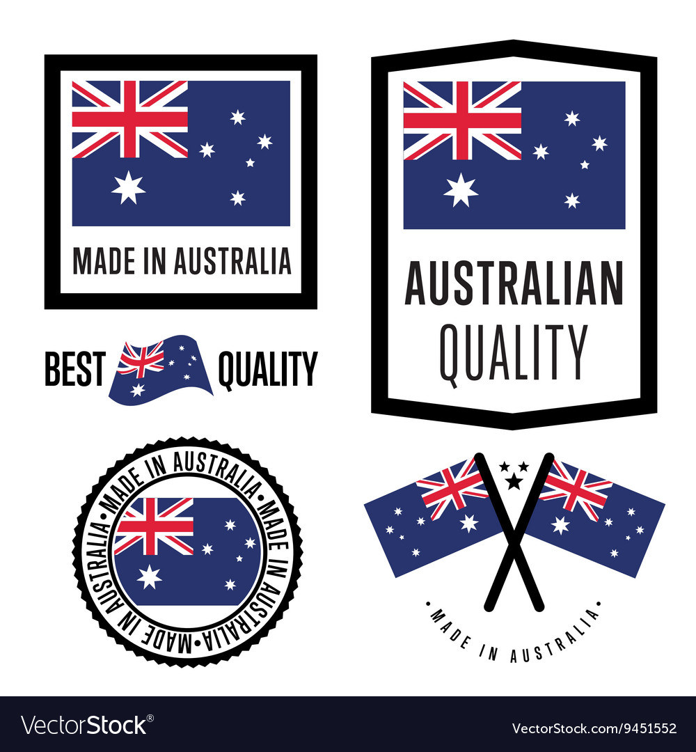 Made in australia label set vector