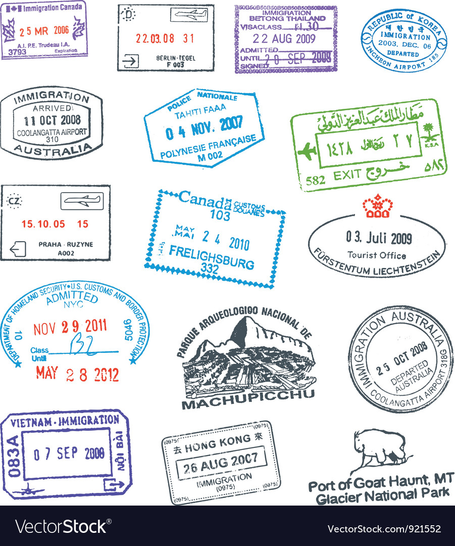 Passport stamp vector