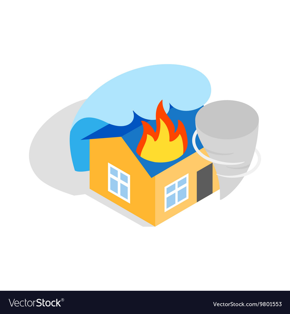 House is on fire icon isometric 3d style vector