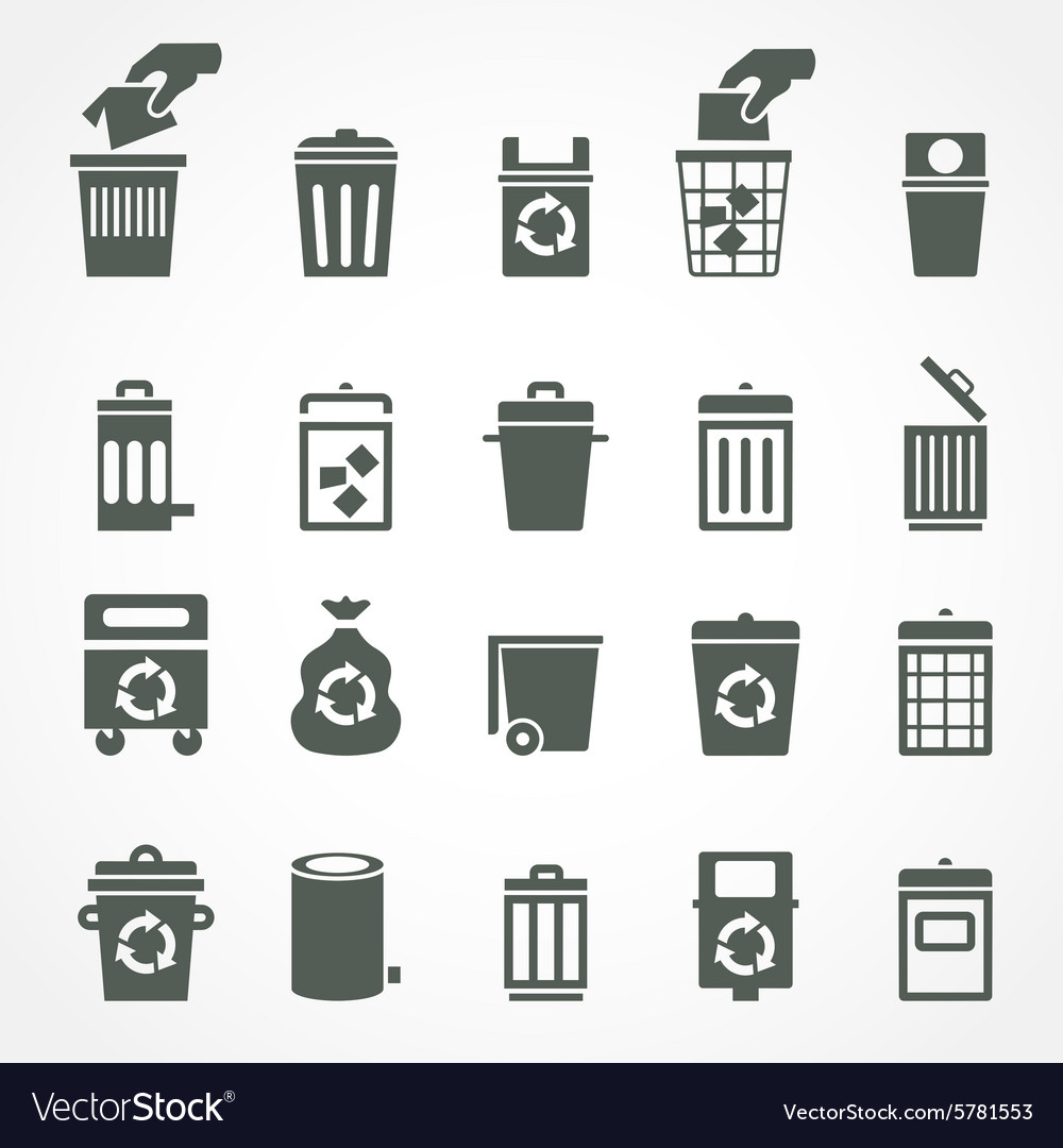 Trash can and recycle bin icons vector