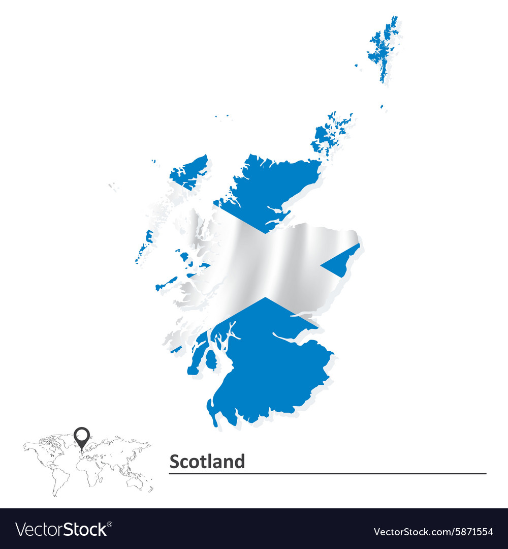 Map of scotland with flag vector