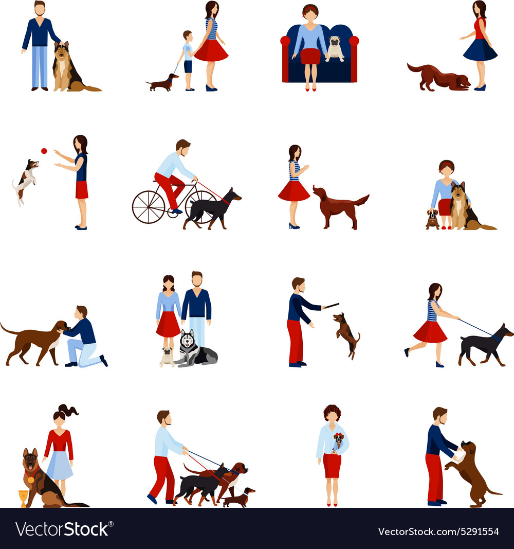 People with dogs set vector