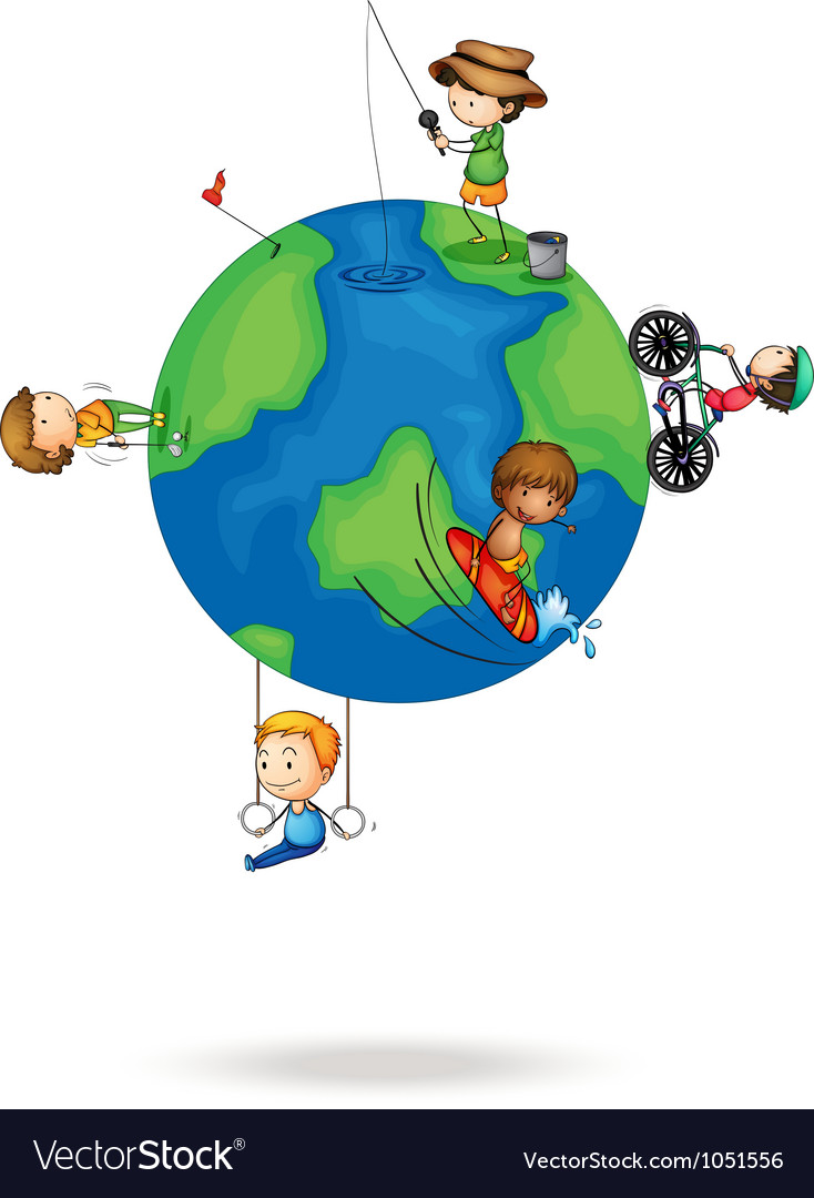 Kids on earth vector