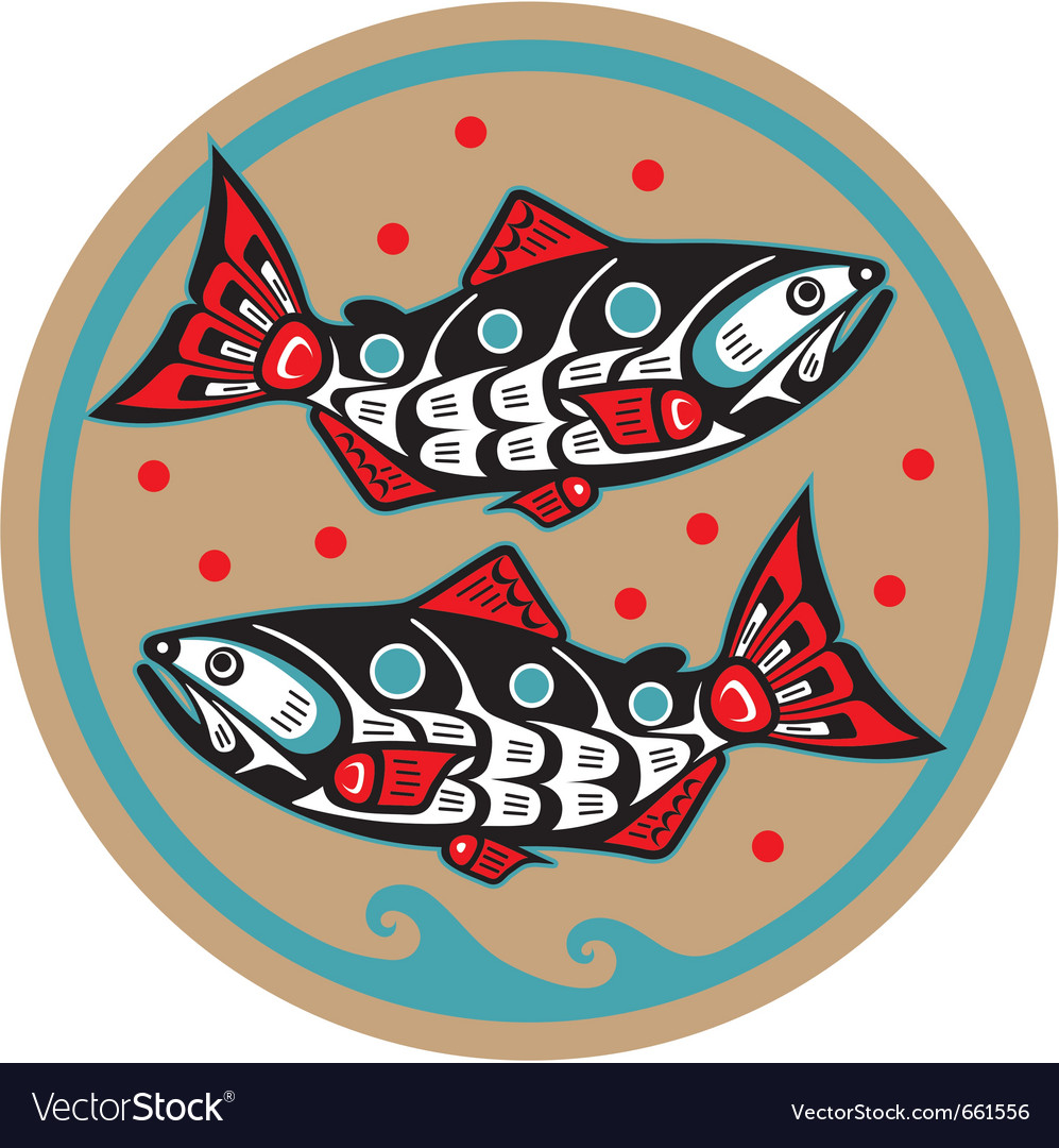 Spawning salmon  native american style vector
