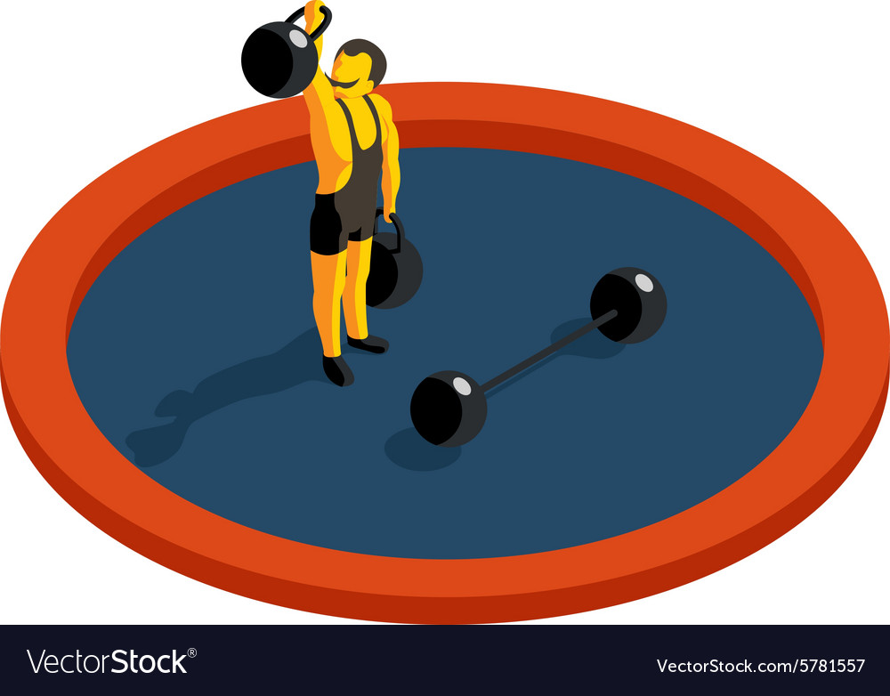 Strongman lifting weight flat 3d isometric vector