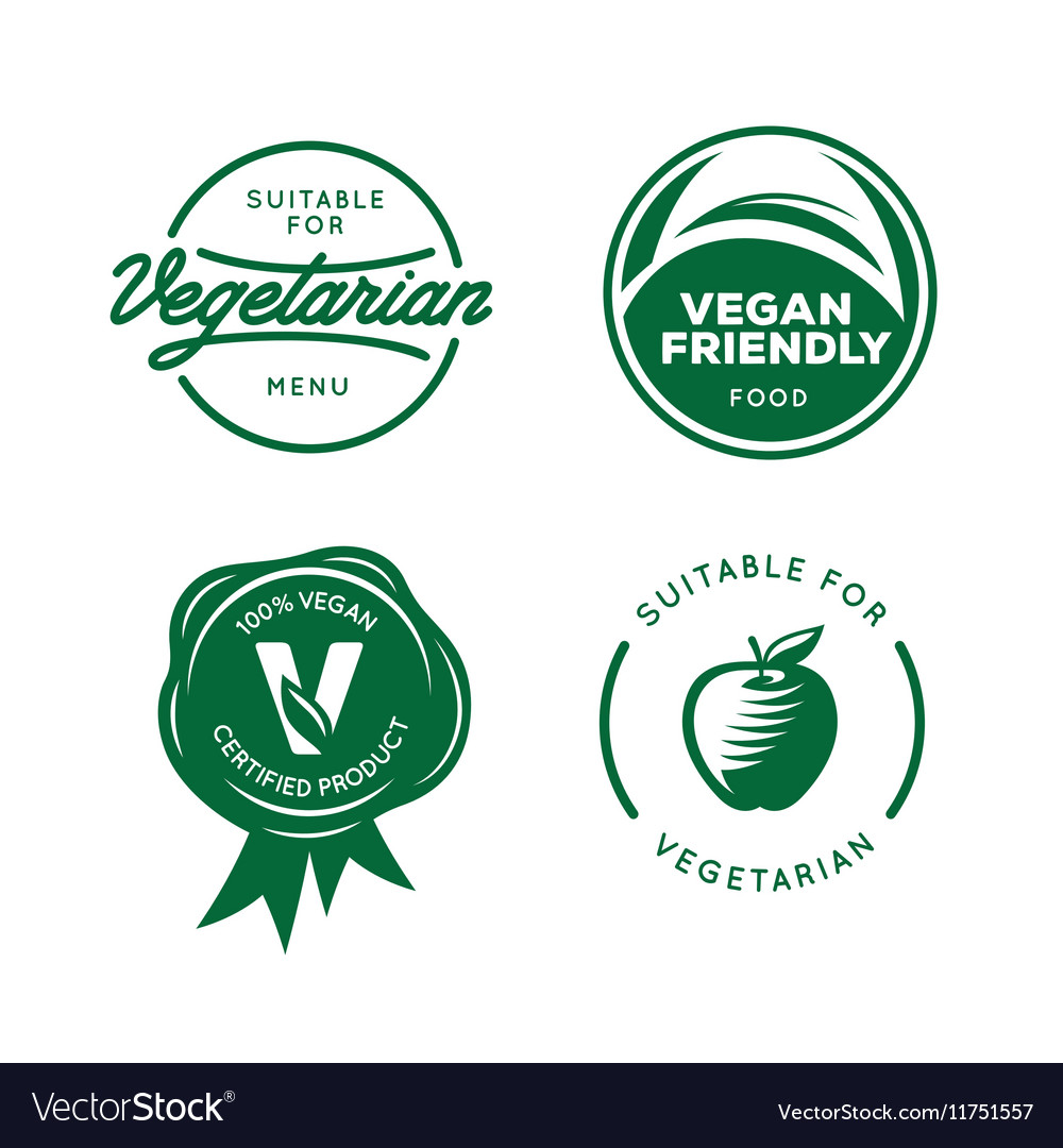 Suitable for vegetarian vegan related labels set vector
