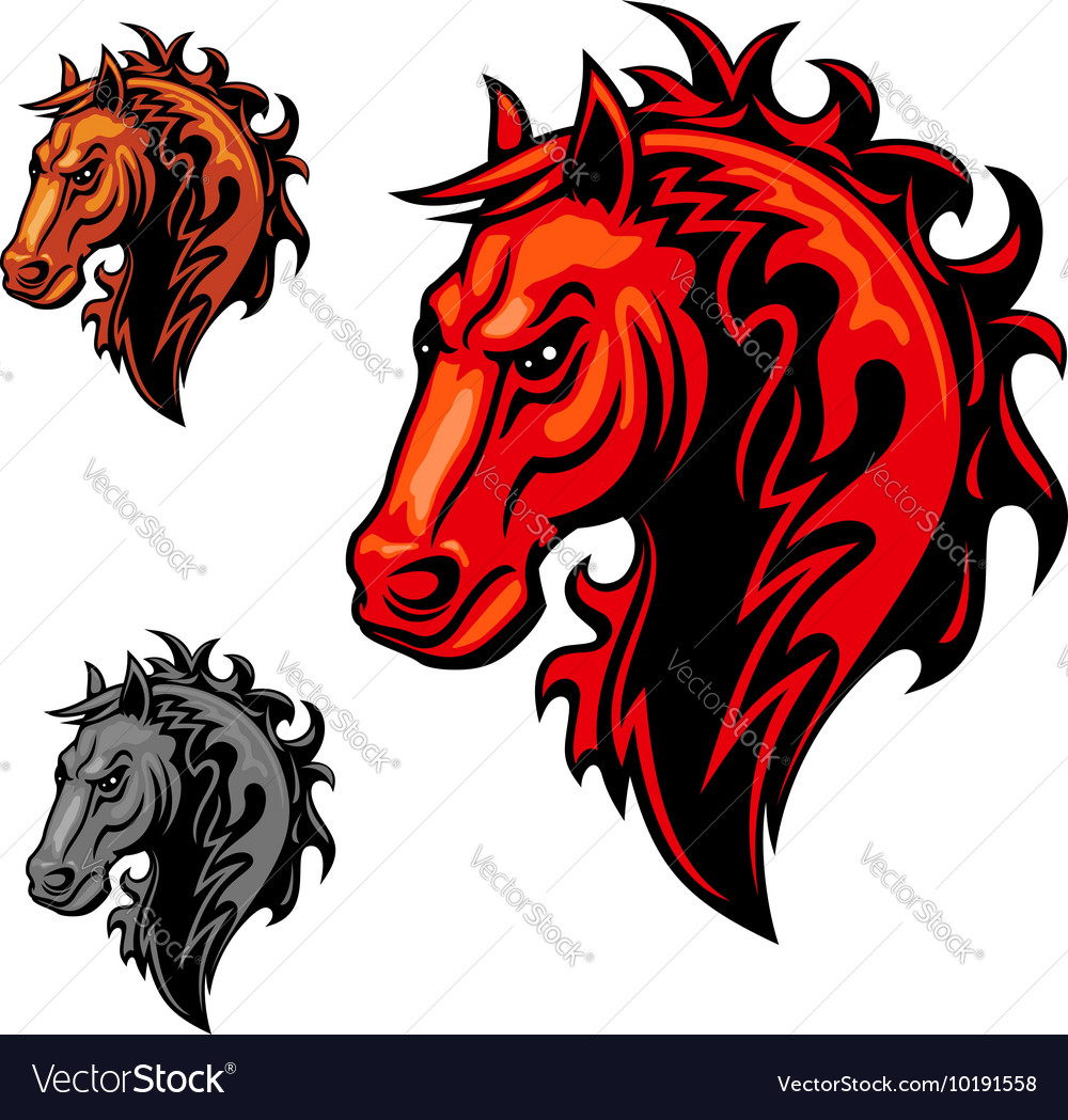 Flaming horse symbol with swirling fire ornament vector