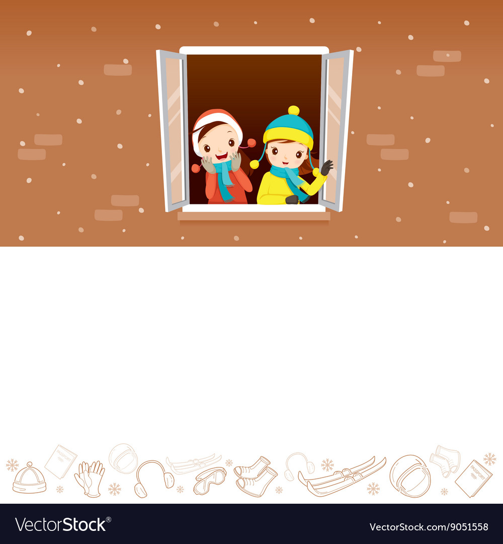 Girls on window with winter equipment outline icon vector