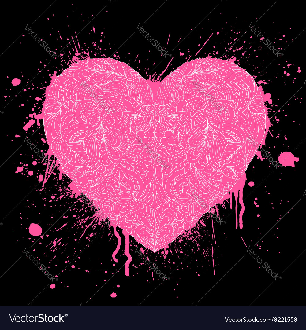Grunge heart on black background vector