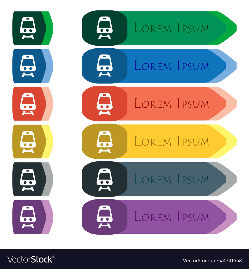 Train icon sign set of colorful bright long vector