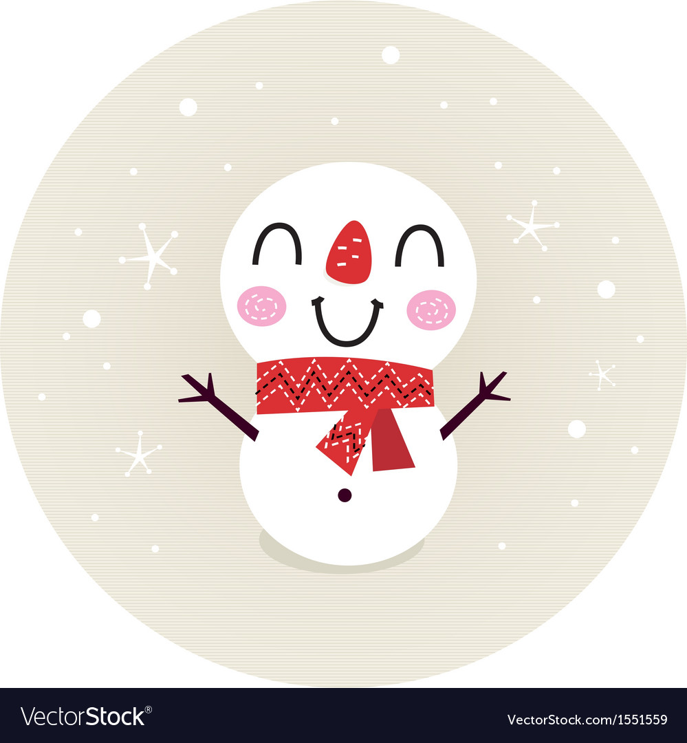 Cute retro snowman in circle isolated on beige vector