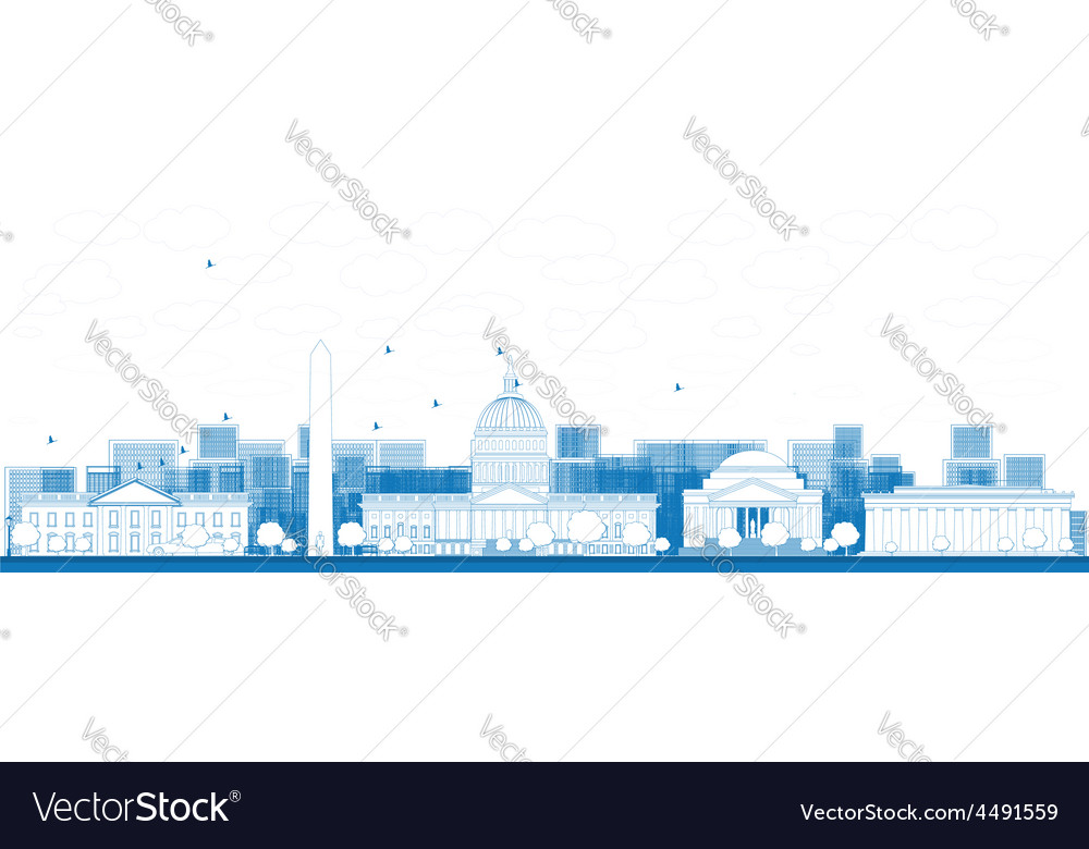 Outline washington dc city skyline vector